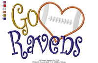 Football Go Ravens - Applique - 4x4 5x4 5x7 5x8 6x10 7x12