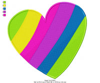 Colorful Heart - Fill Stitch - Machine Embroidery Design