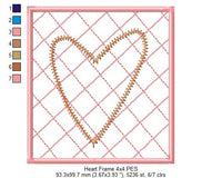 Heart and Frame - ZigZag Applique - 4x4 5x5 6x6 7x7