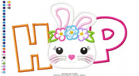 Hop Easter Bunny Girl - Applique - Machine Embroidery Design