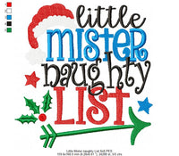 Little Mister Naughty List - Fill Stitch - 4x4 5x5 6x6