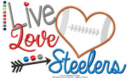 Football Live Love Steelers - Applique - 4x4 5x4 5x7 5x8 6x10 7x12