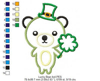 Saint Patrick Lucky Bear - Applique - 4x4 5x7 6x10 7x12