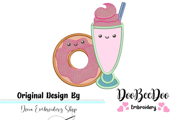 Milkshake with Donuts - Applique - 4x4 5x5 6x6 7x7