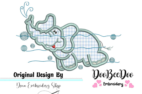 Swimming Elephant - Applique - Machine Embroidery Design