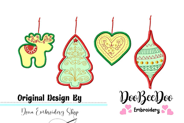 Folk Christmas Ornaments - Applique - Machine Embroidery Design