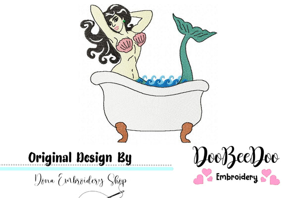 Vintage Bath Mermaid  - Fill Stitch - Machine Embroidery Design