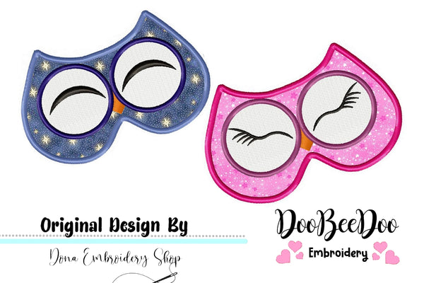 Cute Owls Sleep Masks - Pack with 2 designs - Applique