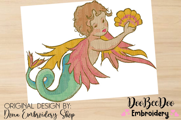 Vintage Mermaid  - Cross Stitch Style - 5x5 6x6 7x7