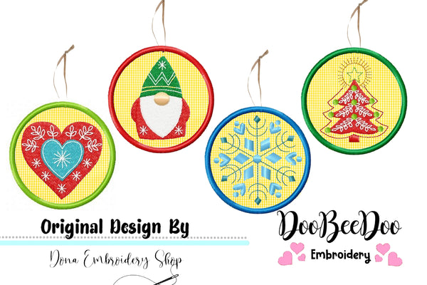 Christmas Ornaments - Applique - Machine Embroidery Design