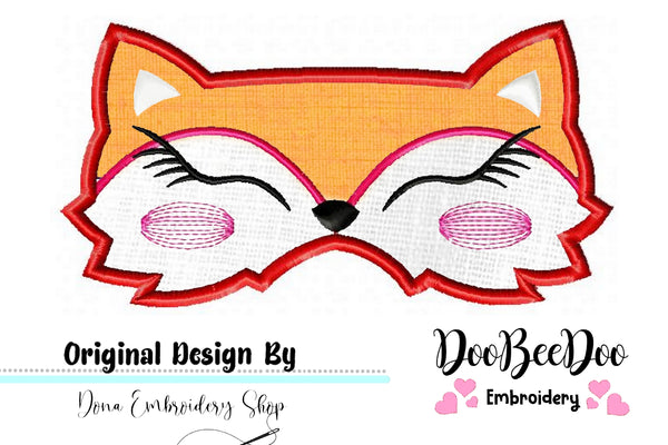 Cute Fox Girl Sleep Mask - Applique - Machine Embroidery Design