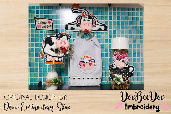 Cow ITH Pack with 4 Designs - Applique -  Machine Embroidery Design