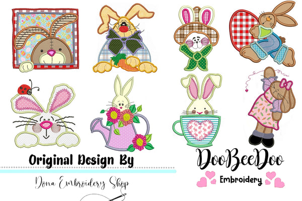 Cute Easter Bunnies Applique Pack - Applique - Machine Embroidery Design
