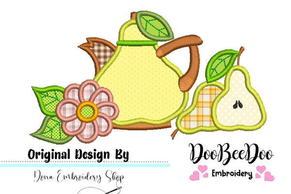 Pear Teapot  - Applique - 4x3 5x4 6x5 7x6