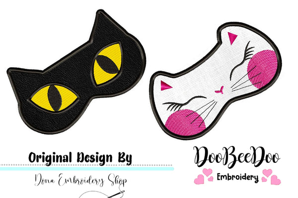 Cute Cats Sleep Masks - Pack with 2 designs - Applique