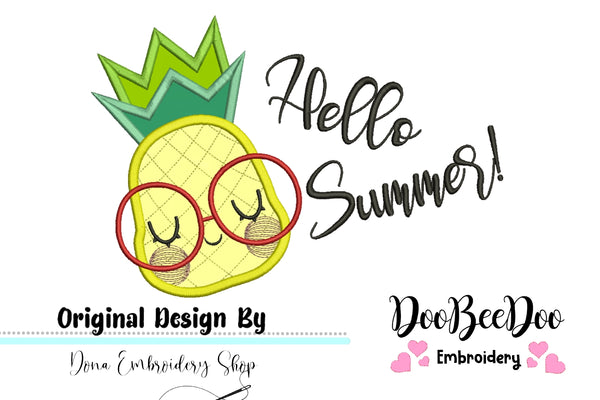Hello Summer Pineapple - Applique - 4x3 5x4 6x5 7x6
