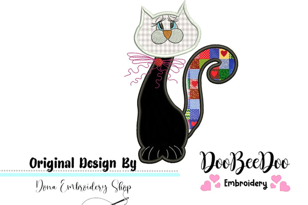 Cute Cat - Applique - Machine Embroidery Design