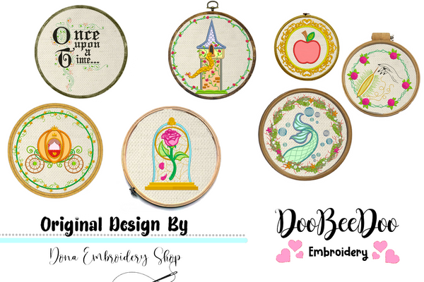 Fairy Tales Princes for Wood Hoop - Set of 7 Designs - 3 Sizes - Machine Embroidery Designs