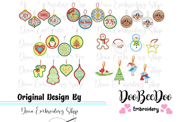 Christmas Ornaments Pack with 28 designs - Applique - Machine Embroidery Design