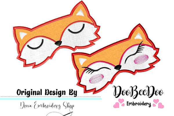 Cute Foxs Sleep Masks - Pack with 2 designs - Applique