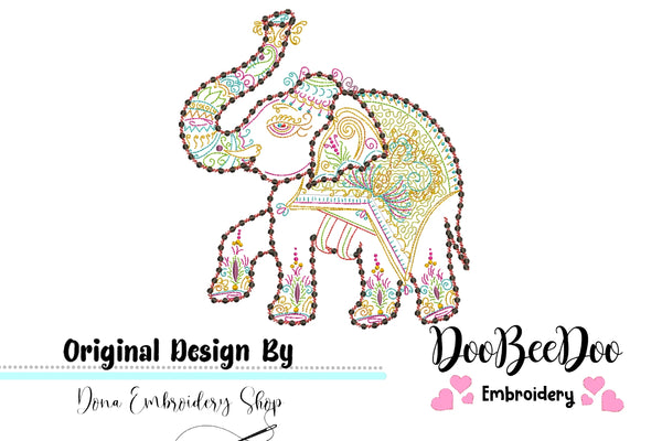 Indian Elephant - Redwork - 4x4 5x5 6x6 7x7