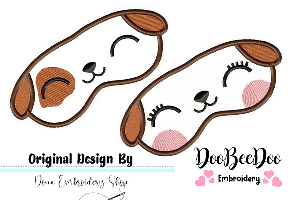 Cute Dogs Sleep Masks - Pack with 2 designs - Applique