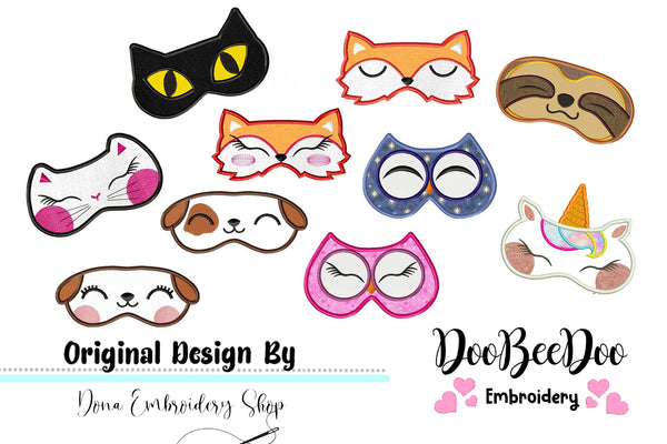 Cute Animals Sleep Mask - Set of 10 designs - Applique -