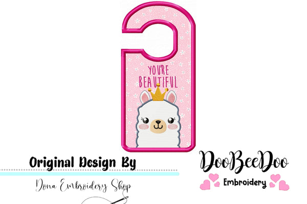 Cute Llama Door Hanger - Applique - Machine Embroidery Design