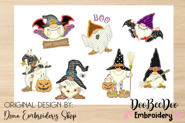 Halloween Gnomes Pack with 7 designs  - Applique - 4x4 5x5 6x6
