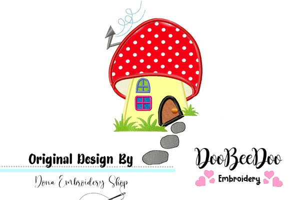 Mushroom House - Applique - Machine Embroidery Design