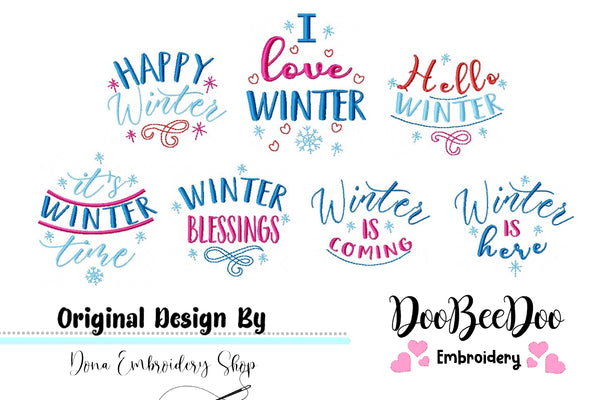 Winter Sayings Pack - Fill Stitch - Machine Embroidery Design