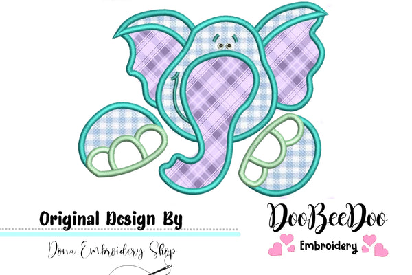 Cute Elephant - Applique - Machine Embroidery Design