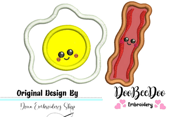 Cute Egg and Bacon - Applique - Machine Embroidery Design