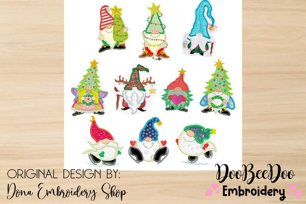 Christmas Gnomes Pack with 10 designs  - Applique - 4x4 5x5 6x6