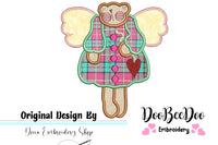 Country Angel Teddy Bear  - Applique - Machine Embroidery Design
