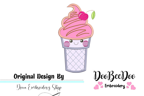 Cute Ice Cream - Applique - 4x4 5x5 6x6 7x7