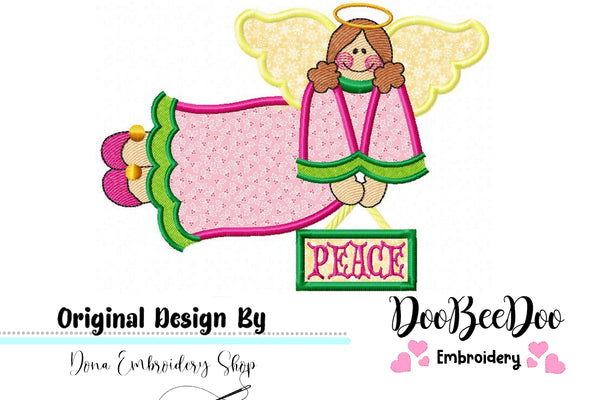 Country Peace Angel - Applique - Machine Embroidery Design