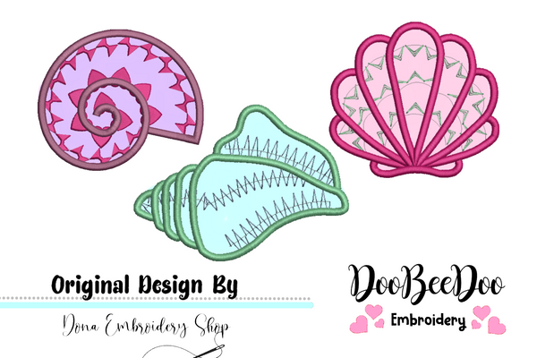 Shells pack - Applique - Machine Embroidery Design