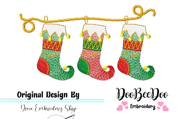 Christmas Boot - Rippled - Machine Embroidery Design