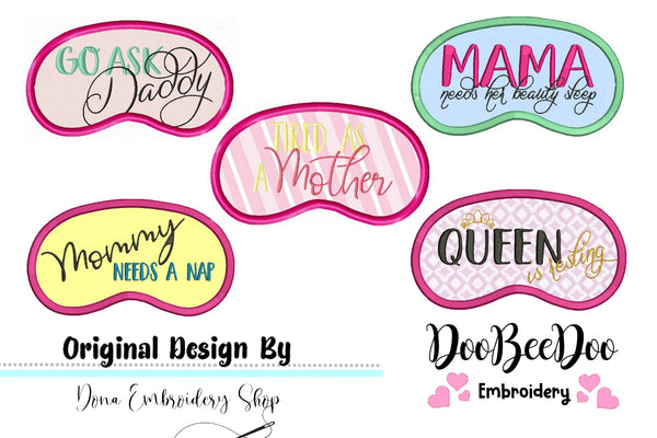 Mother´s day sleep mask pack - Sleep Mask - Applique - Machine Embroidery Design