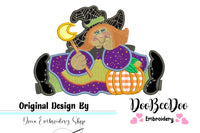 Cute Halloween Witch - Applique - 5x5 6x6 7x7