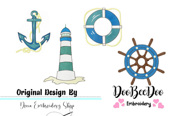 Nautic Pack with 4 designs - Fill Stitch - Machine Embroidery Design