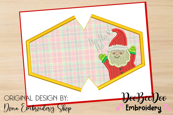 HO HO HO Face Mask - ITH - 3 Sizes - Machine Embroidery Designs