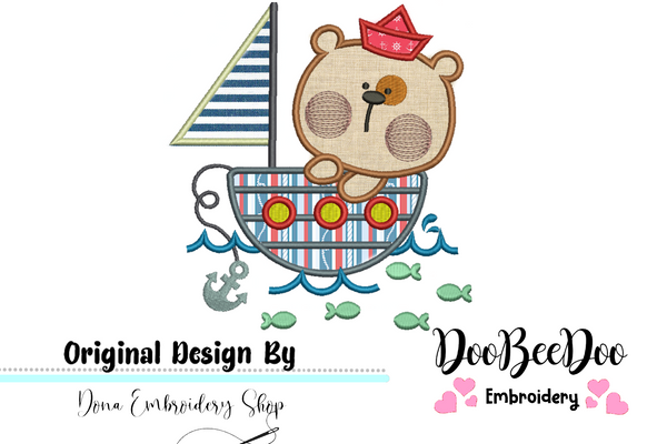 Sailor Bear  - Applique - Machine Embroidery Design