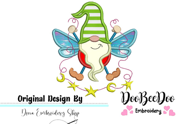 Pixie Gnome  - Applique - Machine Embroidery Design