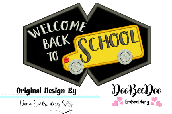 Welcome back to School Face Mask - ITH - 3 Sizes - Machine Embroidery Designs