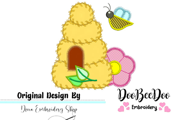 Bee House  - Applique - Machine Embroidery Design