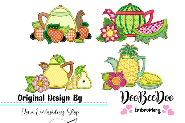 Fruit Teapots Pack with 4 designs  - Applique - 4x3 5x4 6x5 7x6