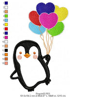 Penguin - Applique - Machine Embroidery Design