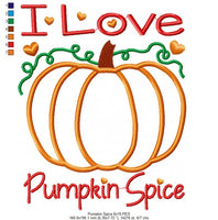 I Love Pumpkin Spice - Applique Machine Embroidery Design